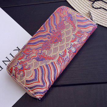 Striped Pattern Color Splicing Embroidery Wallet -  DEEP PINK