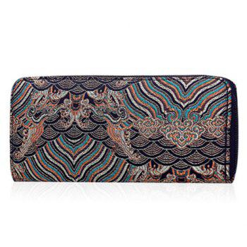 Striped Pattern Color Splicing Embroidery Wallet - COFFEE COFFEE