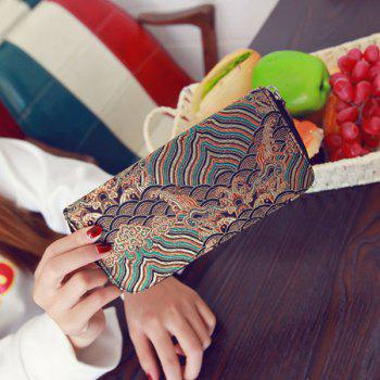 Striped Pattern Color Splicing Embroidery Wallet -  COFFEE