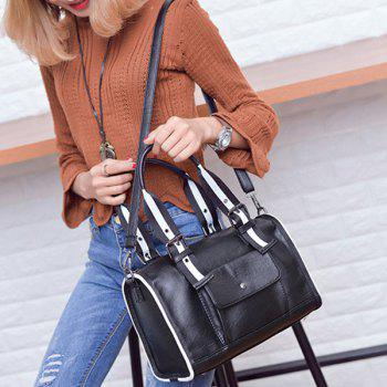 Buckles Striped Pattern Two-Tone Tote Bag