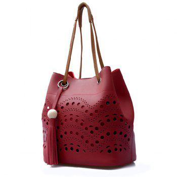 Tassels Color Spliced Hollow Out Tote Bag