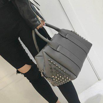 Buy Zip PU Leather Metal Rivets Tote Bag GRAY