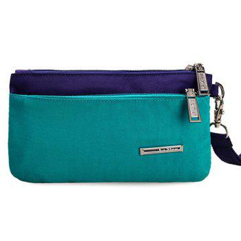 Zippers Metal Color Spliced Clutch Bag - LAKE GREEN LAKE GREEN