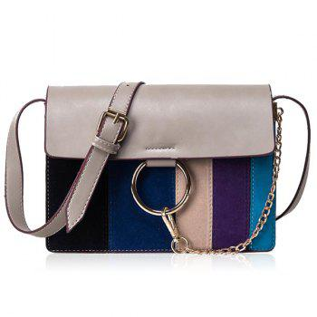 Chain Metal Ring Striped Pattern Crossbody Bag