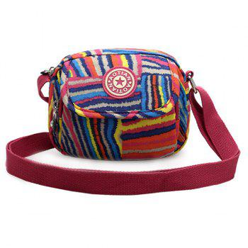Zipper Color Block Striped Print Crossbody Bag