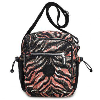 Zippers Color Splicing Striped Print Crossbody Bag