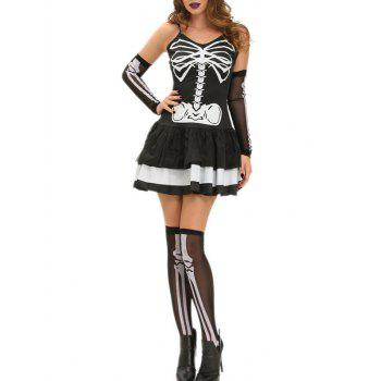 Halloween Skeleton Layered Cami Dress Costume