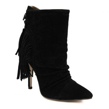 Point Toe Stiletto Heel Ruched Suede Fringe Ankle Boots