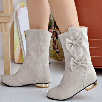 Bowknot Ruched Flat Suede Ankle Boots