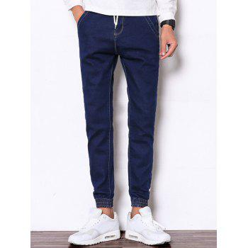Beam Feet Zipper Fly Drawstring Denim Jogger Pants