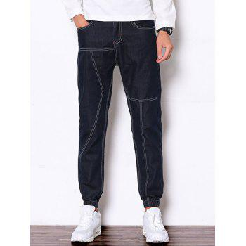 Zipper Fly Suture Design Denim Jogger Pants