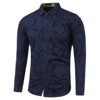 Turn-Down Collar Irregular Linellae Print Long Sleeve Shirt - CADETBLUE M
