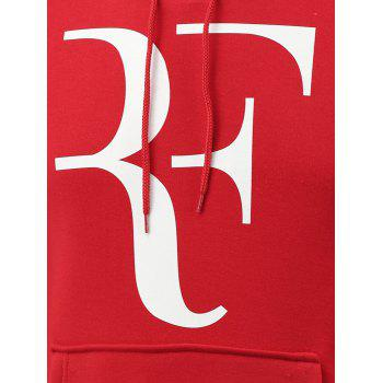 Abstract Letter Print Long Sleeve Hoodie - RED XL