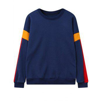 Crew Neck Color Block Fleece Sweatshirt