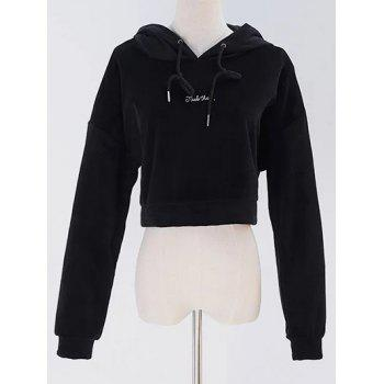 Velvet Graphic Embroidered Cropped Hoodie