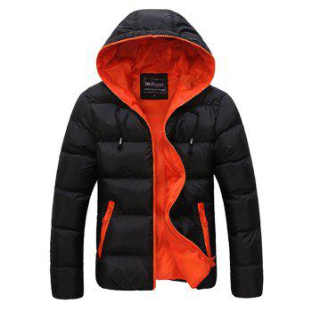 Drawstring Hooded Contrast Zipper Quilted Jacket