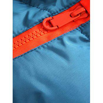 Drawstring Hooded Contrast Zipper Quilted Jacket - BLUE XL