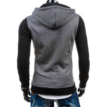 Zip-Up Slim Fit Color Block Side Hoodie - Gris Clair XL