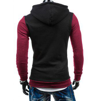 Zip-Up Slim Fit Color Block Side Hoodie - Noir XL