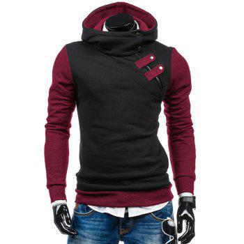 Side Half Zip Two Tone Slim Fit Hoodie
