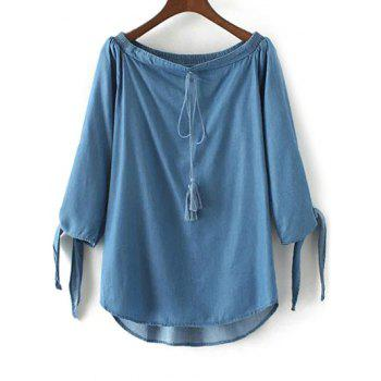 Off The Shoulder Drawstring Chambray Top
