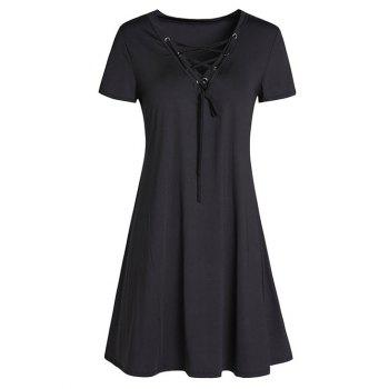 Lace-Up Vintage A-Line Mini Dress