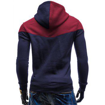 Slim Fit-Color Block Kangaroo Hoodie Pocket - Bleu Cadette L