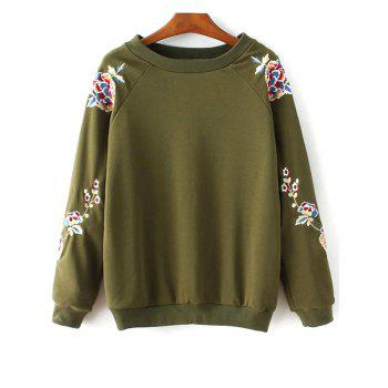 Round Collar Floral Embroidered Sweatshirt
