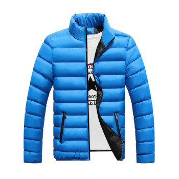 Contrast Zipper Stand Collar Quilted Jacket