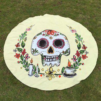 Happy Halloween Flower Candle Skull Print Polyster Round Beach Throw