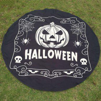 Happy Halloween Pumpkin Skull Spider Print Polyster Round Beach Throw