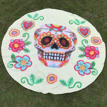 Happy Halloween Flower and Skull Print Polyster Round Beach Throw