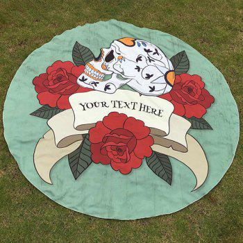 Happy Halloween Flower and Skull Print Polyster Your Text Hear Round Beach Throw