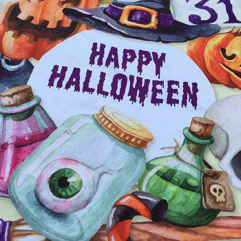 Happy Halloween Element Imprimer Polyster Plage ronde Throw - Jaunâtre ONE SIZE