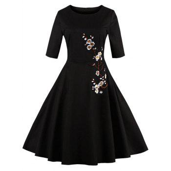 Floral Embroidered Semi Formal Dress