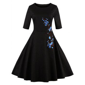 Floral Embroidered Semi Formal Skater Dress - BLACK L