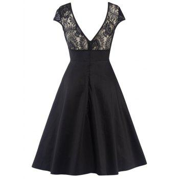 Swing Lace Back-V Hidden Zip Dress - BLACK BLACK