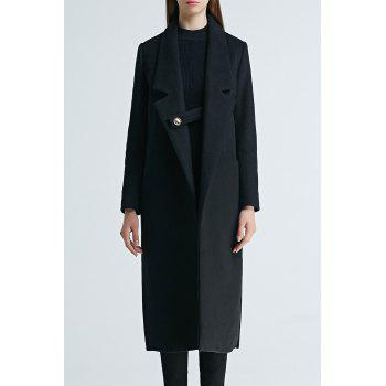 Lapel Wool Blend Longline Coat