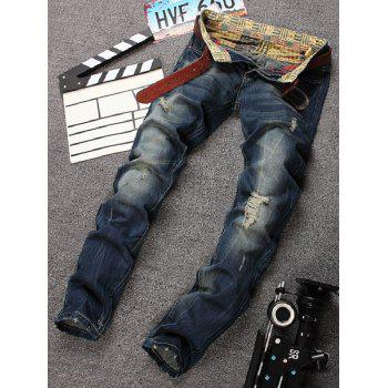 Distressed Design Straight Leg Bleach Wash Jeans