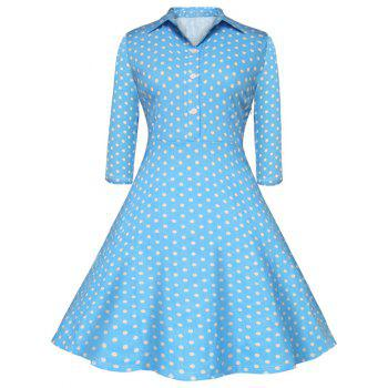 Buttoned Polka Dot Print Polo Shirt Dress