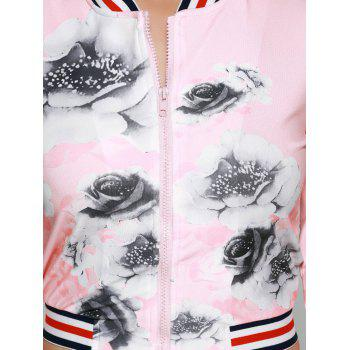 Flower Print Cropped Gym Outfits - PINK M