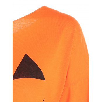 One Shoulder Pumpkin Print Halloween Sweatshirt - YELLOW ORANGE XL