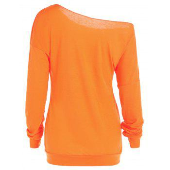 One Shoulder Pumpkin Print Halloween Sweatshirt - YELLOW ORANGE S