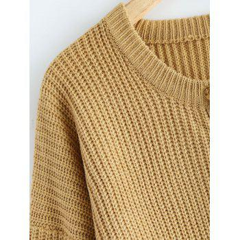 Lace Up Pullover Plus Size Sweater - KHAKI 2XL