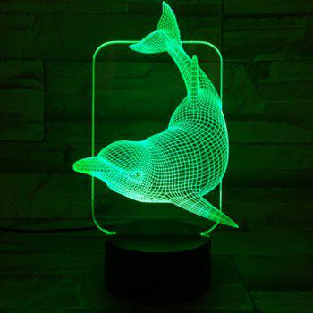 Home Decor 3D Visual Color Changing Dolphin Shape Night Light - COLORFUL