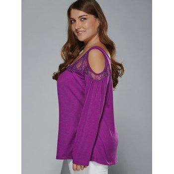 Long Sleeve Lace Patchwork Cold Shoulder T-Shirt - PURPLE 3XL