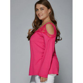 Long Sleeve Lace Patchwork Cold Shoulder T-Shirt - ROSE RED 2XL