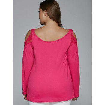 Long Sleeve Lace Patchwork Cold Shoulder T-Shirt - ROSE RED 3XL