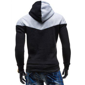 Slim Fit-Color Block Kangaroo Hoodie Pocket - Noir L
