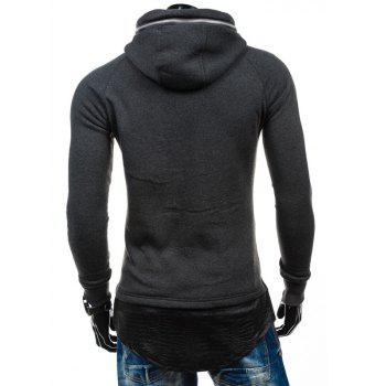PU Spliced Zipper Embelllished Faux Twinset Hoodie - DEEP GRAY XL